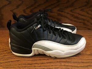 Nike Air Jordan XII Retro Low BG Playoffs TWO 3 Black White Shoes 5Y 308305-004