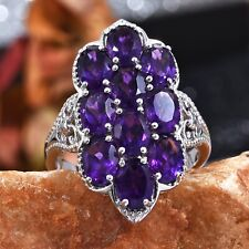 African Amethyst Ring in Platinum Over Sterling Silver (Size 7.0) 7.07 ctw