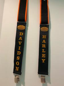 Harley Davidson Suspenders Black Orange Striped Edge Gold LOGO Motorcycle Biker