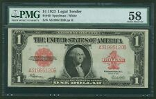 U.S. 1923  $1 LEGAL TENDER BANKNOTE FR-40 PMG CERTIFIED CHOICE ABOUT UNCIRC.-58