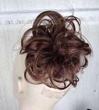 chestnut medium brown pony tail bun elastic hair piece extension scrunchie