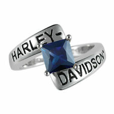 Harley-Davidson Ladies Silver Crossroads Ring Faux Sapphire - size 6