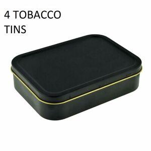 4 X 2oz LARGE UNHINGED Cigarette Tobacco STASH Metal Baccy Bait BLACK MATT Tin