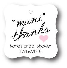 24 Mani Thanks! Personalized Bridal Shower Favor Tag