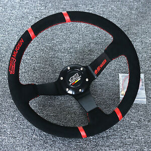 """14""""Universal Mugen Racing Red Ring Suede Leather Deep Dish Steering Wheel"""