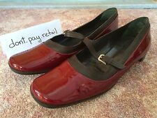 JIL SANDER BURGUNDY RED WEDGE SHOES SIZE 6 PATENT LEATHER