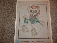 Handpainted Needlepoint Canvas Large Christmas Bear 12M NEW