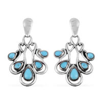 Southwest Dangle Drop Earrings 925 Sterling Silver Turquoise Jewelry for Women