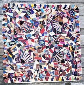 Antique Crazy Patchwork Quilt Top w/Fans Hand & Embroidery