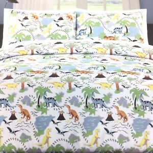 3pc Max Studio Dinosaur FULL QUEEN Comforter Sham Set Volcano Blue Orange Green