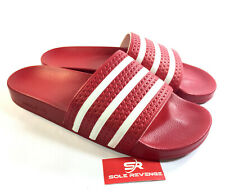 71b8aaf65 New Adidas ADILETTE Slides Sandals Mens Red White Beach Flip Flops 288193