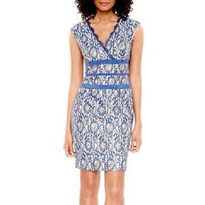 Simply Liliana -Sleeveless Metallic Lace Sheath Dress , size:  16