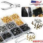 480Pcs Leather Rivets Set Double Cap Rivet Tubular Metal Studs Setting Tool Kit