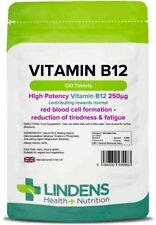 **Lindens Vitamin B12 250mcg Tablets (120) HIGH Potency for Tiredness & Fatigue