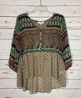 Umgee USA Boutique Women's M Medium Black Boho 3/4 Sleeves Spring Top Blouse