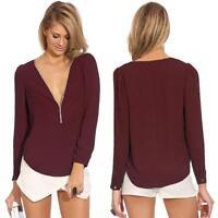 Sexy Ladies Chiffon Zip V Neck Long Sleeve Casual Blouse T-shirts Shirt Tops
