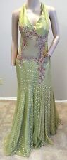 NWT Mike Benet Formals Metallic Gold Lame Green Beaded Floral Prom Dress 10