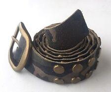 "Camo Pattern Genuine Leather 1-1/2"" Belt By Hype Double Row Brass Studs"