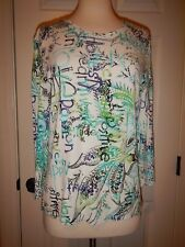 """Chico's 1 = Size 8 Teal """"Hope"""" """"Positive"""" """"Passion"""" Soft Knit Graphic Top"""