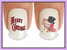 Nail Decals #814X CHRISTMAS Vintage Snowman Merry WaterSlide Nail Art Transfers