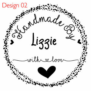Handmade by Unmounted Personalized Rubber Stamp Made with love cards & tags seal