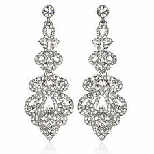 Stunning Silve Austrian Crystal Rhinestone Chandelier Dangle Earring Bridal E111