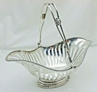 Antique Sterling Solid Silver Navette Pierced Swing Handle Basket (1790/9/OLN)