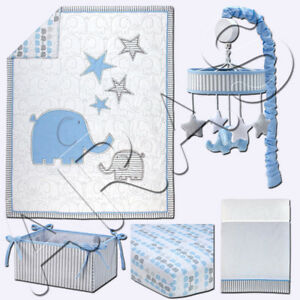 Zutano Elefant Blau 5 Piece (including mobile) Crib Set- White/Blue/Grey