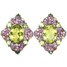 REAL GREEN GOLD QUARTZ RUBY PERIDOT TOURMALINE STERLING 925 SILVER EARRING