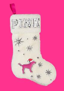 Victoria's Secret PINK Logo Plush Sherpa Christmas Holiday Stocking White