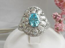 QVC- Diamonique and Simulated Apatite Epiphany Ring Size 5