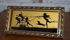 Vtg reverse painting silhouette Tallimit Art Nouveau Spring Fidus dog children