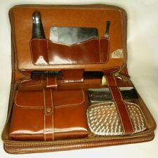 Vintage Leather Beauty Case Men's - Mirror, nail file, comb, etc.