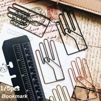 Vintage Hand Shape Metal Clips Gesture Bookmark Memo Clips Stationery~