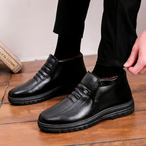 Mens Fleece Lined Ankle Snow Boots Winter Warm Leisure Slip On Comfortable Shoes