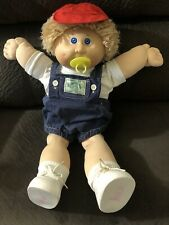 Cabbage Patch Pacifier Face Shag Sandy Hair Rare Blue Eyes Brown Sig Overalls