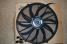 """12V 16"""" 80w RADIATOR ENGINE BAY ELECTRIC COOLING THERMO FAN & MOUNTING KITS"""