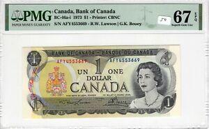 Canada 1973 1 Dollar PMG Certified Banknote UNC 67 EPQ Superb Gem BC 46a-i