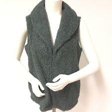 "Woman""s J JILL Gray Sweater Vest Soft Loopy Pile ZIP Front Side Pockets Size L"