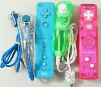 Nintendo Wii Remote And Nunchuck Controller Lot Blue Pink Greene