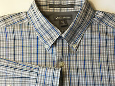 New Eddie Bauer Men Wrinkle Free Long Sleeve Tunic Dress Shirt Blue Grey M