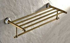 Antique Brass Wall Mounted Towel Holder Shelf Bathroom Storage Rack Rail zba411