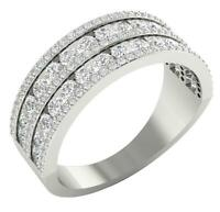 Wedding Ring SI1 G 1.85 Ct Natural Round Cut Diamond 14K Gold Prong Channel Set