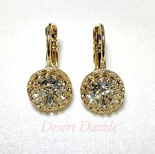 Crystal Leverback Earrings Silver Or Gold Fashion Made With Swarovski White