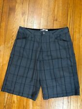 Alpine Design Mens Gray Plaid 5 Pocket Flat Front Hiking Shorts Size 32