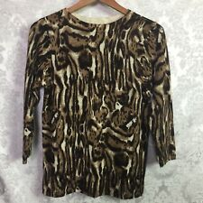 Talbots Women's Brown Leopard Print Pure 100% Merino Wool Pullover Sweater Sz M