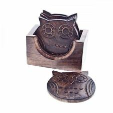 VINTAGE WOODEN OWL COASTERS SET OF 6 WITH HOLDER - For Tea Coffee Drinks