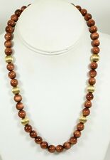 Gold Tone Gold Stone Bead Necklace 3842