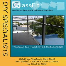 Balustrade Heat Soaked Frameless Glass Panel - 1000w x 970h x 12mm WITHOUT HOLES
