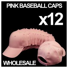 ***BABY PINK*** WHOLESALE LOT OF 12 PLAIN BLANK SOLID BASEBALL CAPS HATS